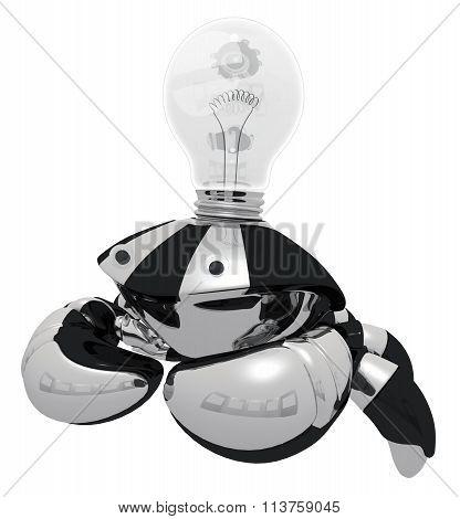 Idea Generator Robot With Light Bulb Classic Light Bulb