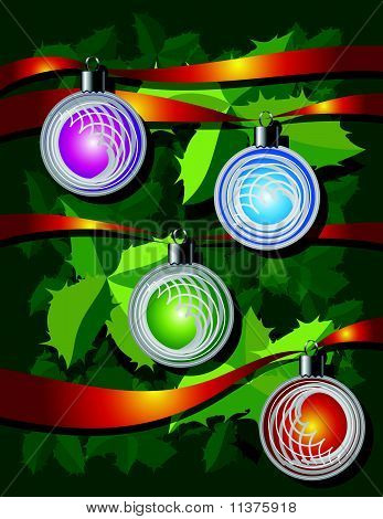 Christmas Background With Ribbons And Globes
