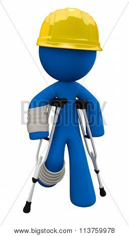 Injured 3D Man With Crutches And Hard Hat, Workplace Safety Concept