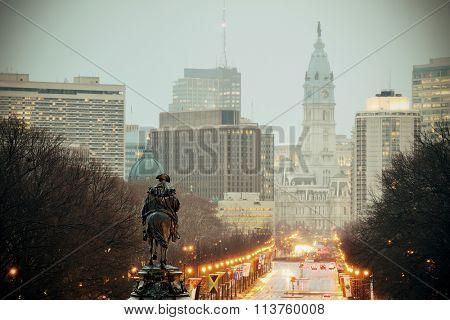 George Washington statue oand street in Philadelphia