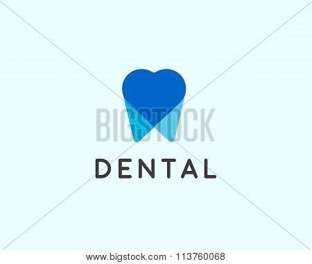 Dentist logo design template. Tooth creative symbol. Dental clinic vector sign heart overlap mark ic