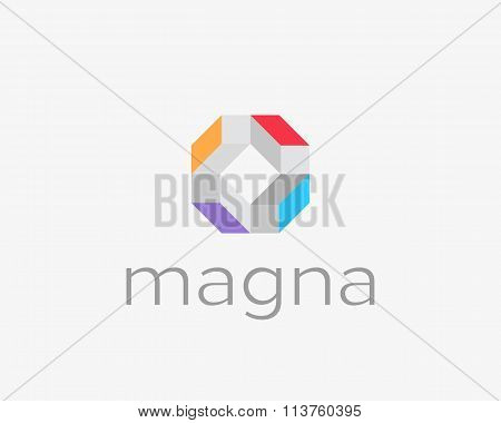 Abstract modern cube house blocks cargo logo design template. Geometric logic team media app sign.