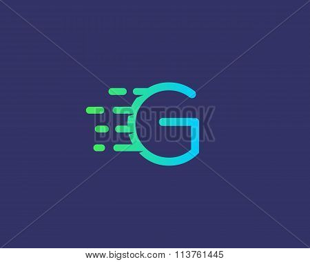 Abstract letter G logo design template.  Dynamic vector unusual line font. Universal fast speed fire
