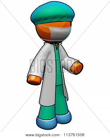 3D Orange Man Doctor Ready For Surgery