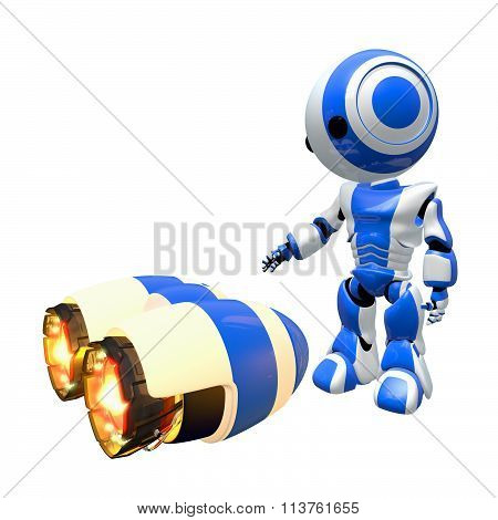 Blue Robot Inspecting Rocket Engines