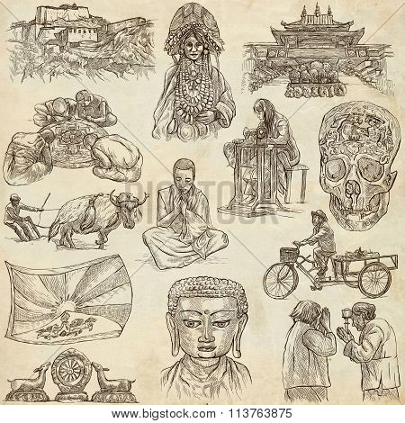 Tibet. Travel - Pictures Of Life. Hand Drawings.