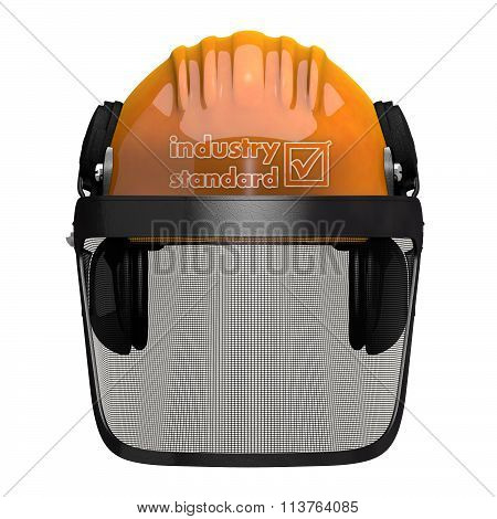 Landscaping Hard Hat With Visor Combo Orthographic Front View