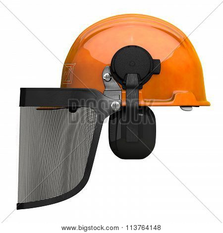 Landscaping Hard Hat With Visor Combo Side Orthographic View