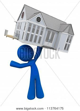 Man Holding New Home Above His Head