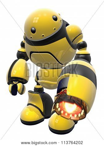Industrial Worker Robot With Heat Gun, Black And Yellow