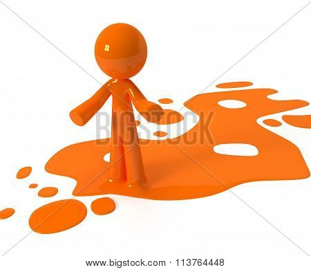 Orange Paint Person Character Emerging From Puddle