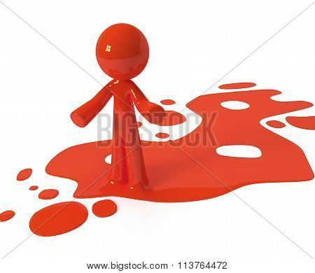 Red Paint Person Character Emerging From Puddle
