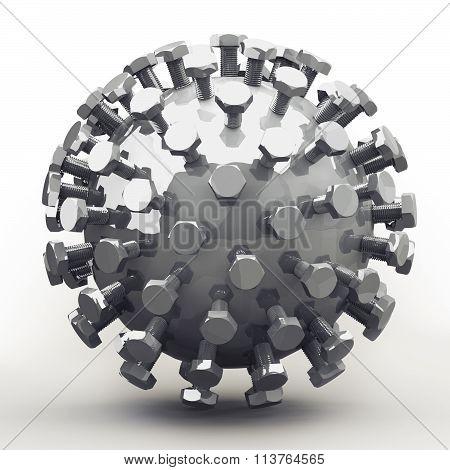 Mecha Ball, Bolts In Fibonacci / Golden Ratio Pattern