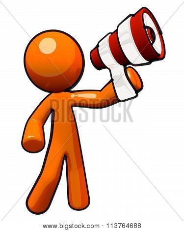 Orange Man With Megaphone
