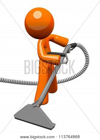 Orange Man With Steam Cleaner Carpet Wand