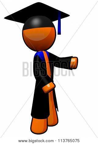 Orange Man Graduate With Robe