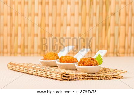 Coconut Chicken On Bamboo