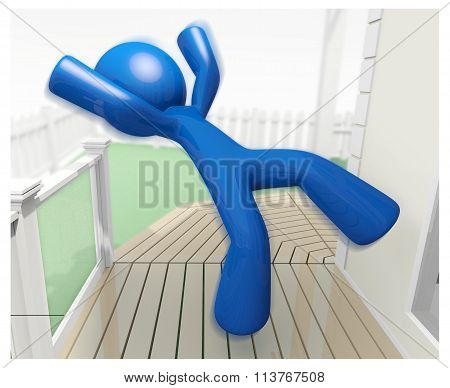 3D Blue Man Falling Down Injury Illustration