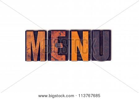 Menu Concept Isolated Letterpress Type