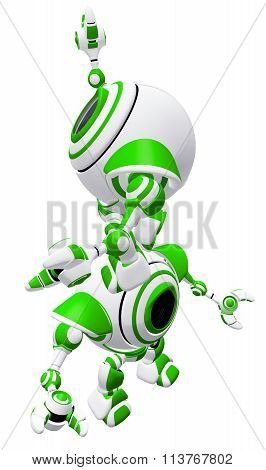 Green Robots Teamwork Concept