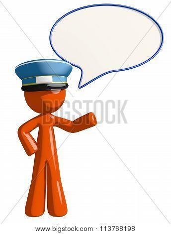 Orange Man Postal Mail Worker Word Bubble