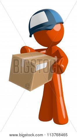 Orange Man Postal Mail Worker Box Delivery