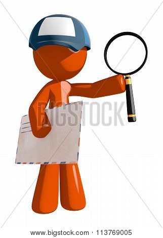 Orange Man Postal Mail Worker With Envelope And Magnifying Glass