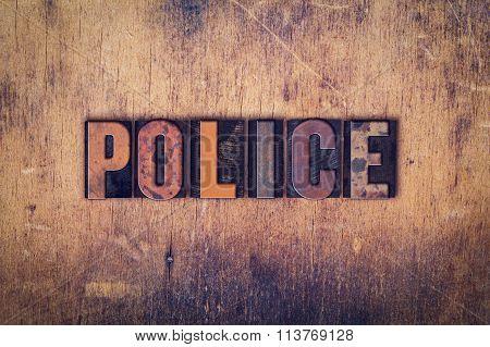Police Concept Wooden Letterpress Type
