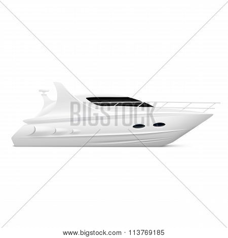 White Yacht. Stock Illustration.