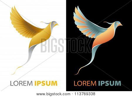 Flying Golden Bird Fancy, Luxurious Company Logo Concept