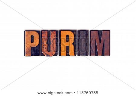 Purim Concept Isolated Letterpress Type