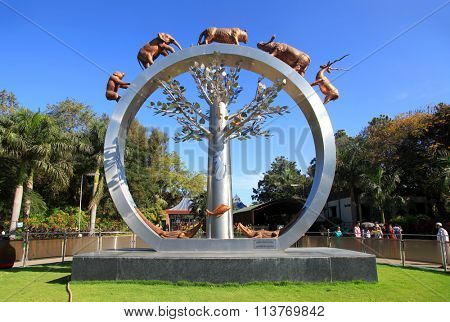 December 2, 2015, HYDERABAD, INDIA - Sculpture of the World Tree in the Jawaharlal Nehru zoo
