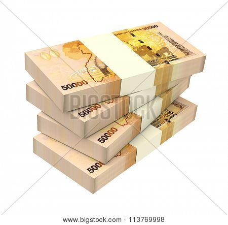 Ugandan shillings bills isolated on white background. Computer generated 3D photo rendering.