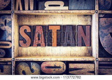 Satan Concept Letterpress Type