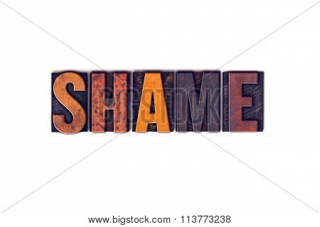 Shame Concept Isolated Letterpress Type