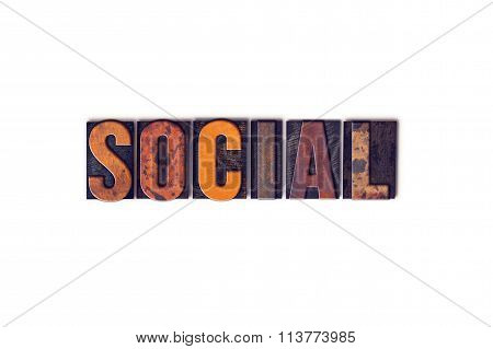 Social Concept Isolated Letterpress Type