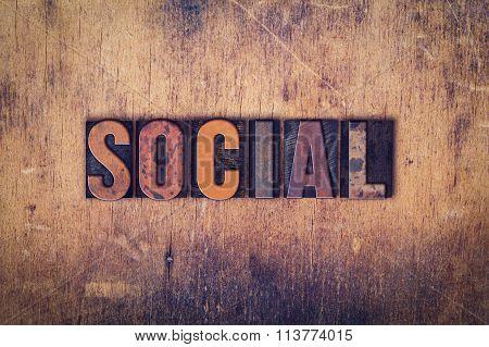 Social Concept Wooden Letterpress Type