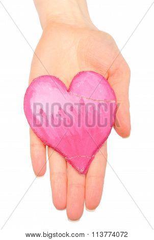 Hand With Broken Heart Of Salt Dough