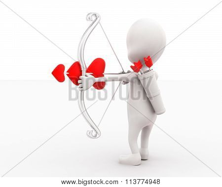 3D Man Holding Arrow And Bow - Love Sign Bow  In Hands Concept