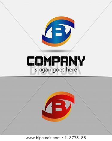 Eye logo element with letter B icons