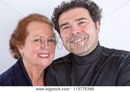 Happy Mother With Adult Son