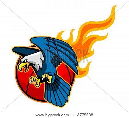Flying Bald Eagle And Flaming Basketball