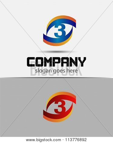 number three 3 logo icon
