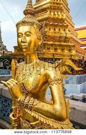 Thai Angle statue, Kinnari statue in Wat Phra Kaew, Temple of the Emerald Buddha, Bangkok, Thailand
