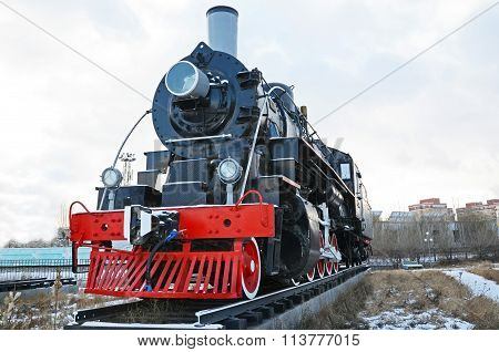 Ulaanbaatar, Mongolia-dec,02 2015: Steam Locomotive Series El-266. Museum Of Railway Equipment In Ul