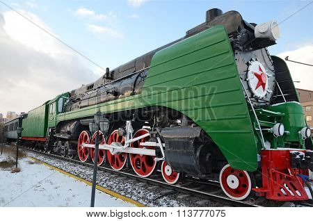 Ulaanbaatar, Mongolia-dec,02 2015: Steam Locomotive P36A. Museum Of Railway Equipment In Ulaanbaatar