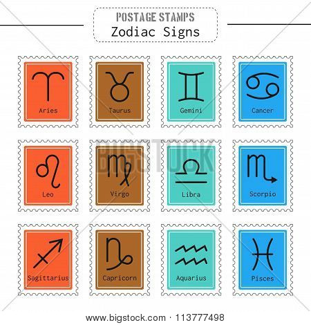Zodiac signs icons for horoscopes, predictions, postage stamps