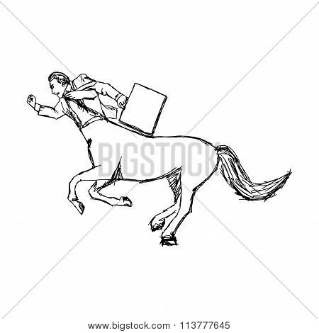Illustration Vector Doodle Hand Drawn Of Sketch Businessman As A Horse Running, Competition Concept.