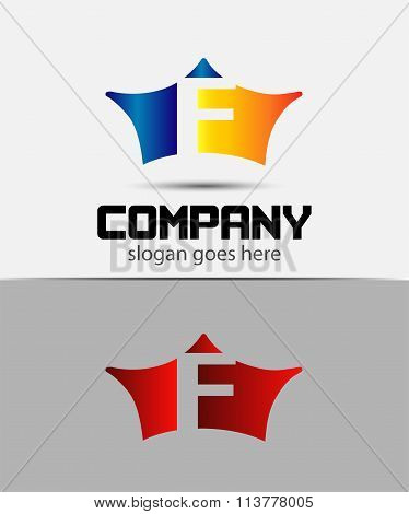 Sign the letter F Branding Identity crown logo design template