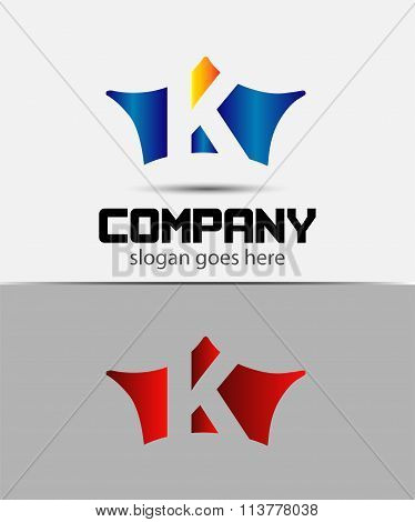 Sign the letter K Branding Identity crown logo design template